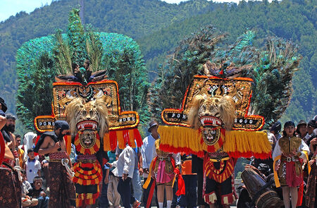 Performance Art in the traditional Reog Ponorogo Sarangan, Magetan, East Java, Indonesia. Photo taken on, November 19th, 2003.