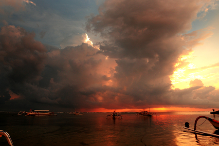 sanur: Sunrise in Sanur beach, Bali, Indonesia. Stock Photo