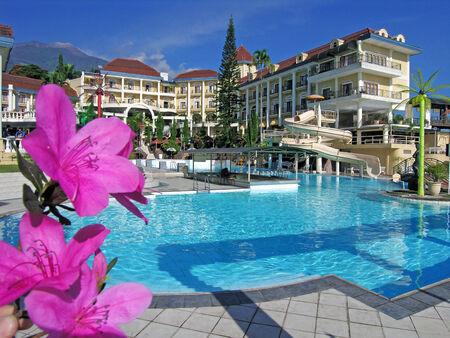 delano: Swimming pool at a hotel in Pacet, Pasuruan, East Java, Indonesia
