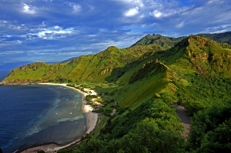 rei: View of the beach around Fatucama Cristo Rei Dili, Timor Leste