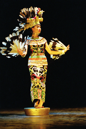 Enggang dancer prom Suku Dayak Kalimantan, Indonesia performents at the opera house ini Cak Durasim, Surabaya, East Java Indonesia