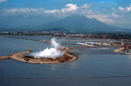 industrail: Aerial view explosion Sidoarjo mudflow Lapindo mud, East Java, Indonesia.