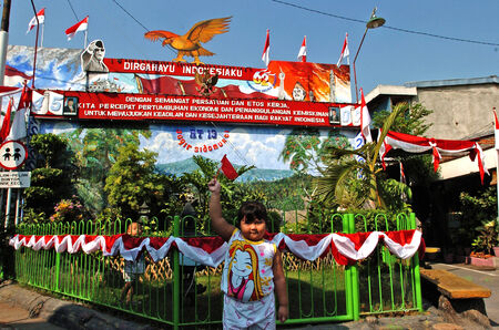 Indonesian independence celebrations in the township of Surabaya, East Java, Indonesia Editorial