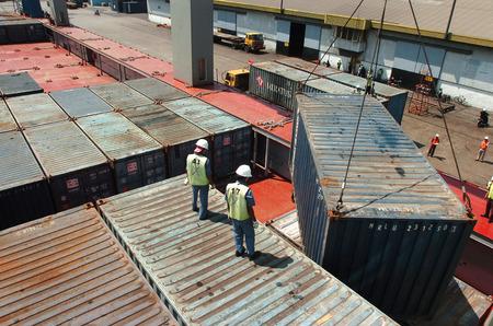 the flanders: Container terminal Jamrud at Surabaya, East Java, Indonesia Stock Photo