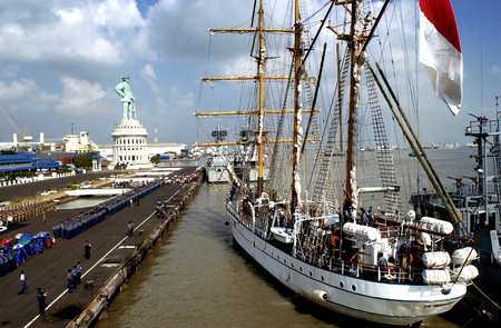 Dewaruci ship docked in Dermaga Ujung Timur (Armda navy in eastern Indonesia) in Surabaya, after a long journey around the world. The KRI Dewaruci is a tall ship and the only barquentine operated by the Indonesian Navy