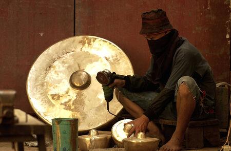 gamelan: Indonesia traditional musical instrument maker, Gamelan in Masospati, Magetan, East Java, Indonesia Stock Photo