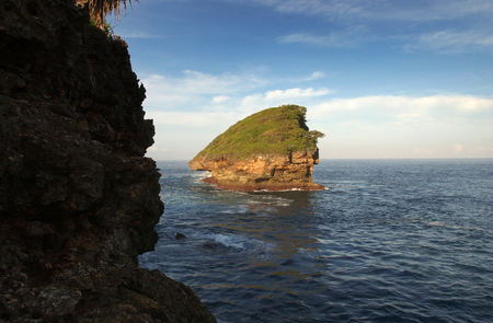 crossings: Watukarung beautiful beach in the district of Pacitan, east java, Indonesia