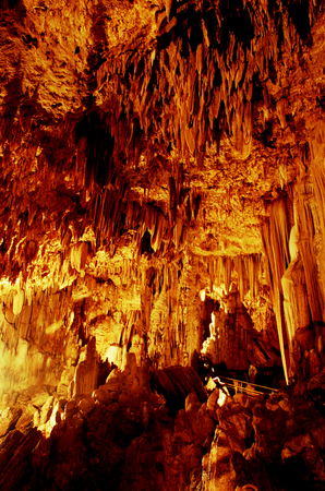 underworld: Stalactites and stalagmites in the cave Gong, Pacitan, East Java, Indonesia