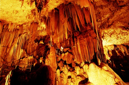 Stalactites and stalagmites in the cave Gong, Pacitan, East Java, Indonesia