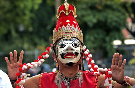 speculative: Banyuwangi mask in cultural performances in Balai Pemuda Surabaya East Java Indonesia. Photo taken October 7th 2004. Stock Photo