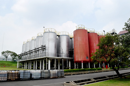 Modern brewery yard against cloudy sky in Trawas indonesia photo