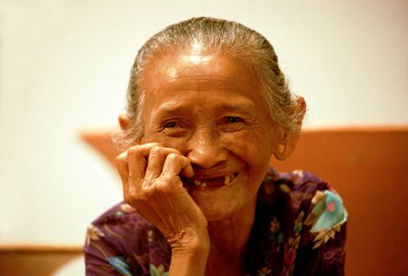 Smiling elderly woman from the tribe of Java Indonesia