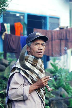 A man Tengger tribe Mount Semeru Lumajang East Java Indonesia. Photo taken on May 20th 2009.