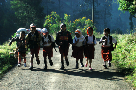 are taken: Childrens go to school in the village Ranupane Lumajang East Java Indonesia. Photo taken on May 20th 2009.