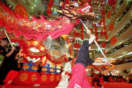taman: Lion and dragon dance barongsai in Mall Taman Anggrek Jakarta Indonesia. The event held in Mall Taman Aggrek and this event is symbol of chinese new year.