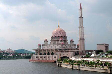 malaysia culture: The floating mosque in Putrajaya Malaysia. The design of the mosque is inspired from iranian art culture