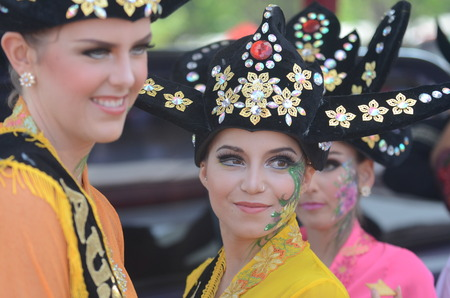 ethno: Tourists perform at Banyuwangi Ethno Carnival parade 2013 in Banyuwangi, East Java, Indonesiaon on September 7, 2013. Editorial