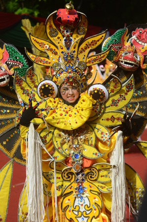 ethno: A model wearing the best carnival 2012 costume attends the Banyuwangi Ethno Carnival 2013 in Banyuwangi, Indonesia