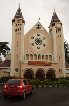 java: Cathedral church in Malang, East Java, Indonesia Editorial