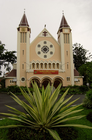 java: Cathedral church in Malang, East Java, Indonesia Stock Photo