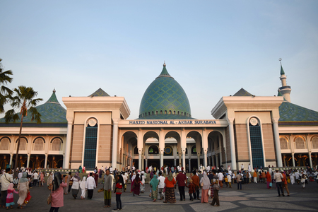 biggest: Indonesian Muslims in Surabaya go to Al-Akbar Masjid, the biggest mosque in Indonesia, after praying Eid al-Adha on September 24th, 2015.