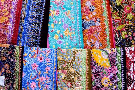 Closeup of colorful batik, Lasem, Tuban, Central Java, Indonesia