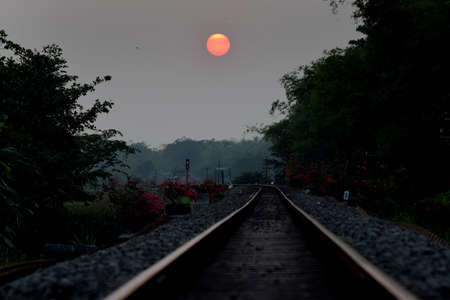 Train tracks at sundown