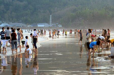 thronged: Local tourists thronged the Telengria Beach, Pacitan, Eat Java, Indonesia.