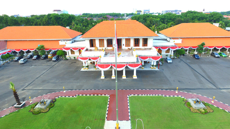 renovate old building facade: Grahadi Building in Surabaya, East Java, Indonesia