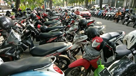 Motorcycle parking in Bungkul park, Surabaya, East Java,  Indonesia