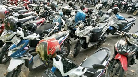 Motorcycle parking in Bungkul park, Surabaya, East Java,  Indonesia