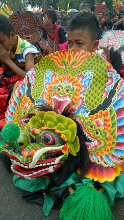 Barongan dance, traditional Javanese performances for cultural parade at the 72th anniversary celebration of East Java province, in Surabaya, Indonesia on October 25, 2017
