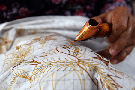 Watercolor painting on the fabric to make batik is part of Indonesian culture Reklamní fotografie
