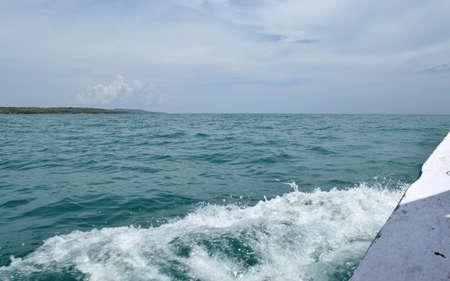 The sea off the coast of Gili Labak, Madura, Indonesia with beautiful blue skies