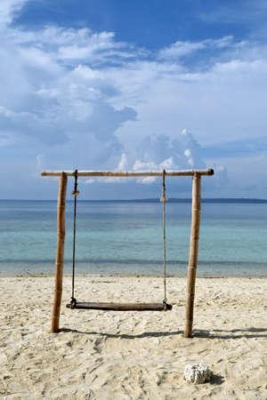Beautiful scenery with white sand on the beautiful Gili Labak beach in Madura, East Java, Indonesia 写真素材