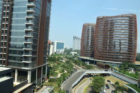 High rise buildings in Jakarta continue to grow while settlements are left out, as the metropolitan city of Jakarta, the capital of Indonesia on July 25, 2019