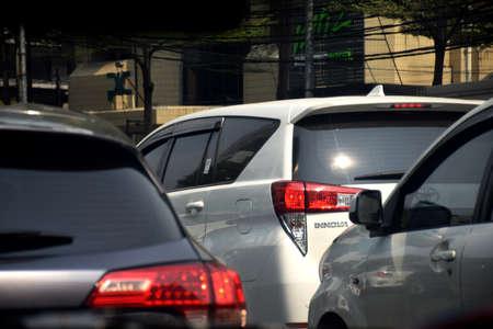Jakarta, Indonesia - July 23, 2019: The view from a traffic jam car around the Grand Indonesia mall (Bundaran HI) Jakarta, Indonesia