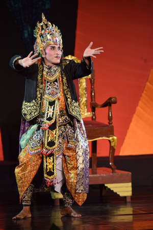 Banyuwangi traditional art performances, which tells the story of Sekartaji held in the Art Building Surabaya, East Java, Indonesia on April 18th, 2015.