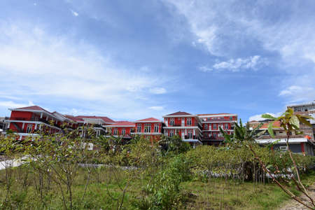 Magetan, Indonesia - December 23, 2016: Hotels or lodging places at the foot of Mount Lawu, Sarangan, Magetan, Indonesia with contrasting colors