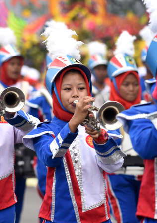 Student marching band for cultural parade at the celebration to commemorate the 724th anniversary of Surabaya, the second largest city in Indonesia on May 7, 2017
