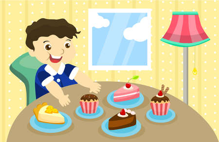 greedy: a greedy boy will eat 5 piece of cakes Illustration