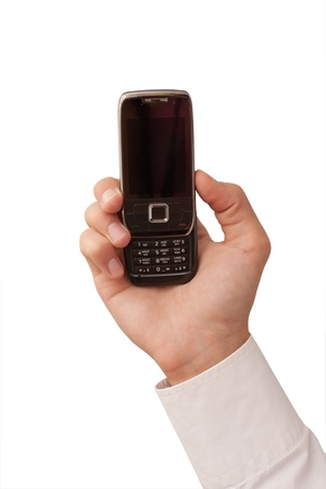 mans hand holding a mobile phone Фото со стока