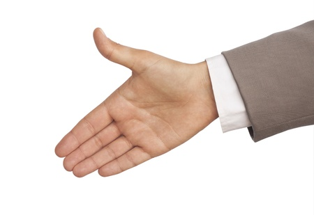 greeting hand in a shirt and grey business suit Фото со стока - 9326383