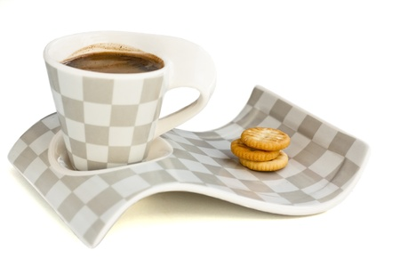 cup of coffee on a plate with cookies Фото со стока - 9426091