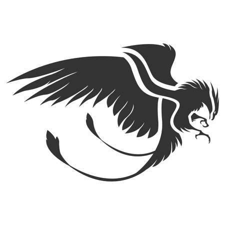 Flat phoenix bird vector Çizim