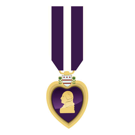 Detailed close up of a Purple heart Medal.