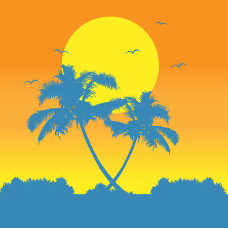 Coconut palm trees at noon scenery vector design.