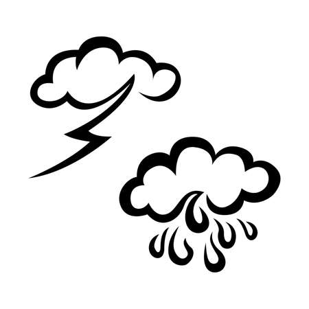 Raining and stroming weather sketch icon set. Hand drawn weather icon set. Weather vector icon set. Weather icon set isolated on white background. Stock Illustratie