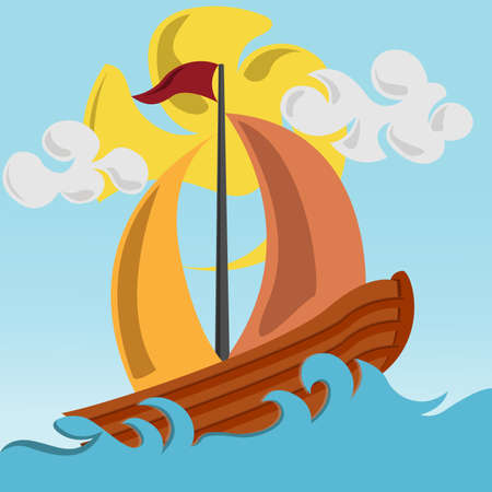 Sailing boat on the ocean with wavy sea vector design. wave and sailboat vector illustration