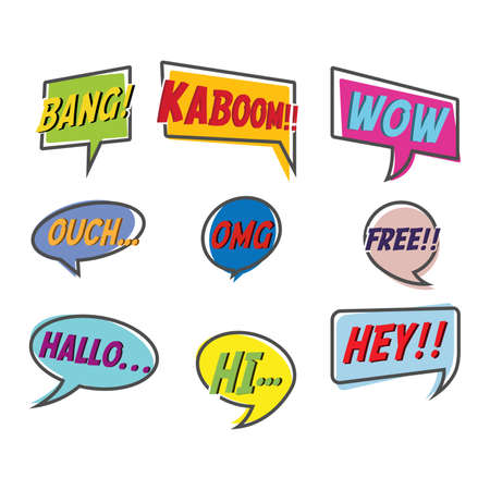 Comic style bubble speech cartoon set isolated on white background vector illustration. Pop art bubble specch of bang, kaboom, wow, ouch, OMG, free, hallo, hi, hey. Illustration